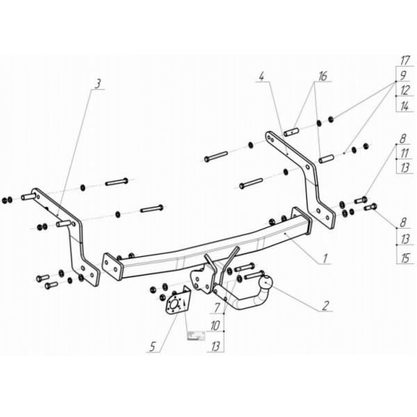 Фаркоп Bosal-Oris 1433-A на Dacia Sandero (2013-)