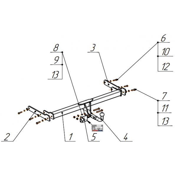 Фаркоп Bosal-Oris 2198-A для Skoda Superb (2015-)