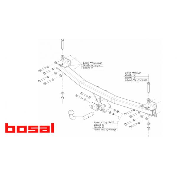 Фаркоп Bosal-Oris 3554-A на Audi Q7 (2013-2015)