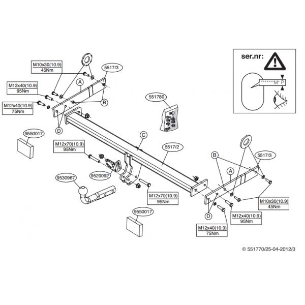 Фаркоп Brink 551700 на Audi Q3 (2011-2019)