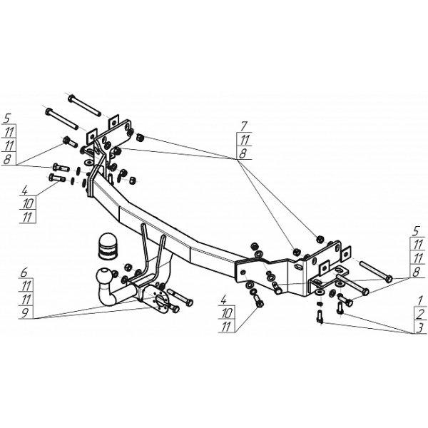 Фаркоп Motodor 90908-A для Kia Sorento (2012-2015)