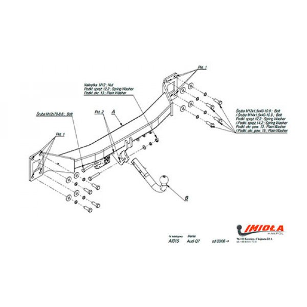 Фаркоп Imiola A.015 для Audi Q7 (2006-2015)