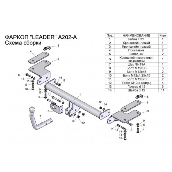 Фаркоп Лидер-Плюс A202-A на Acura RDX (2006-2012)