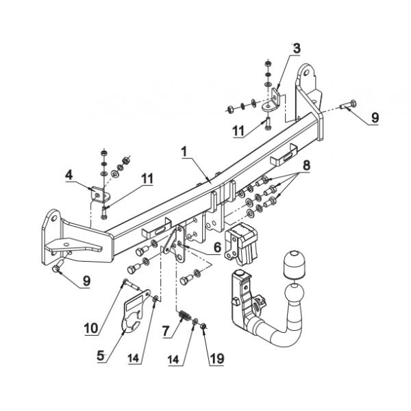 Фаркоп Auto-Hak B 18V для BMW X4 F10/F11  (2010-2016)