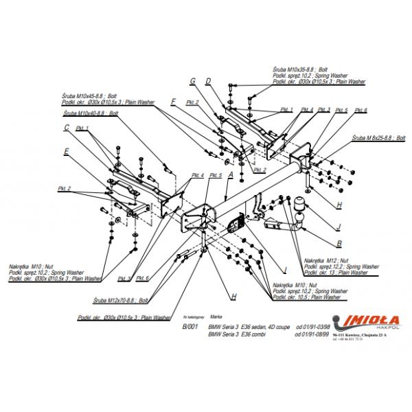 Фаркоп Imiola B.001 для BMW 3-Series E36 универсал (1995-1999) Е36 седан (1991-1998)