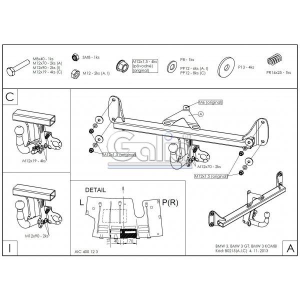 Фаркоп Galia B021С для BMW 1 (2011-2019)