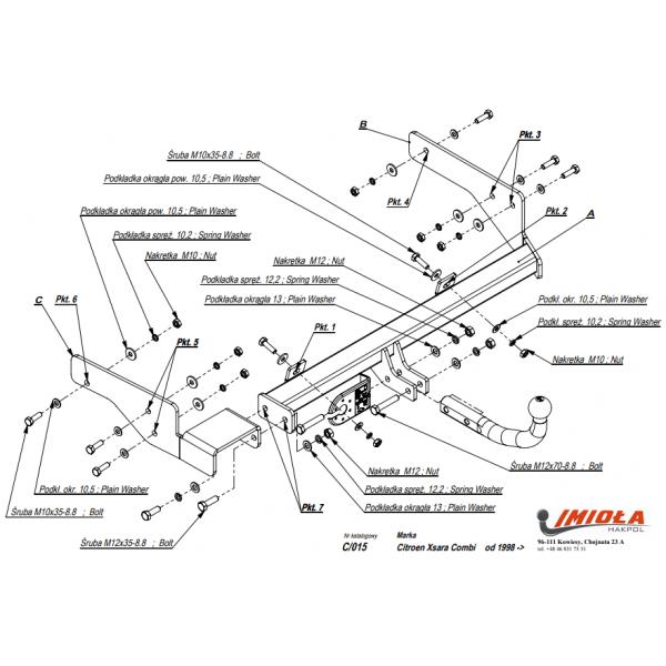 Фаркоп Imiola C.015 на Citroen Xsara универсал (1998-2005)