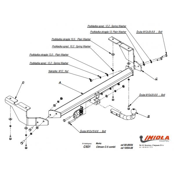 Фаркоп Imiola C.021 на Citroen C5 (2004-2008)
