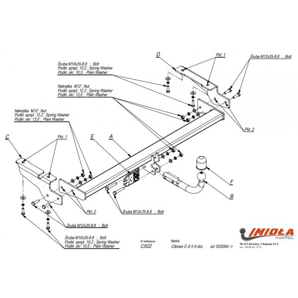 Фаркоп Imiola C.022 на Citroen C5 лифтбек (2004-2008)