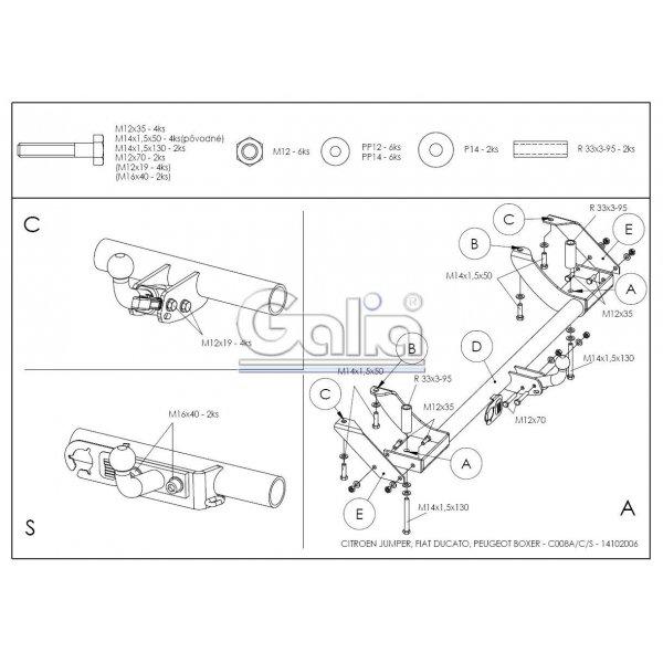 Фаркоп Galia C008С на FIAT Ducato Sollers (2008-2011)