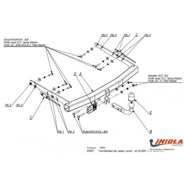 Фаркоп Imiola E.041 для Ford Mondeo седан/универсал (2007-2014)