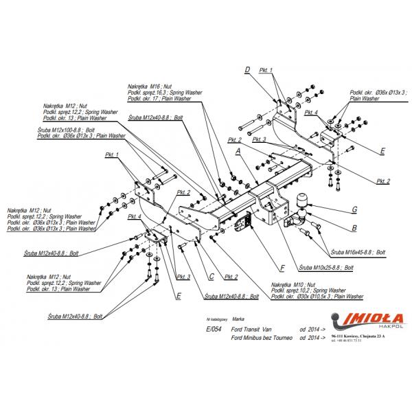 Фаркоп Imiola E.054 для Ford Transit (2013-)