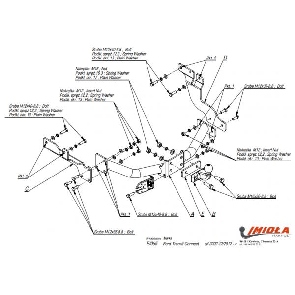 Фаркоп Imiola E.055 для Ford Transit Connect (2002-2012)