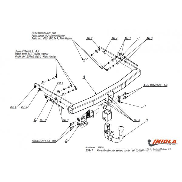 Фаркоп Imiola E.А41 для Ford Mondeo седан/универсал (2007-2014)