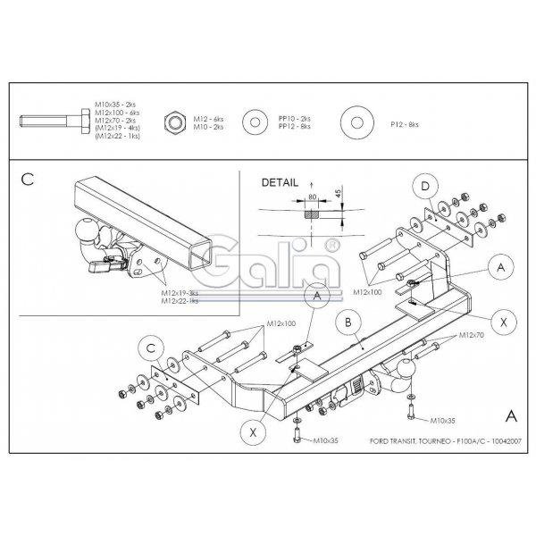Фаркоп Galia F100A для Ford Transit (2000-2014)
