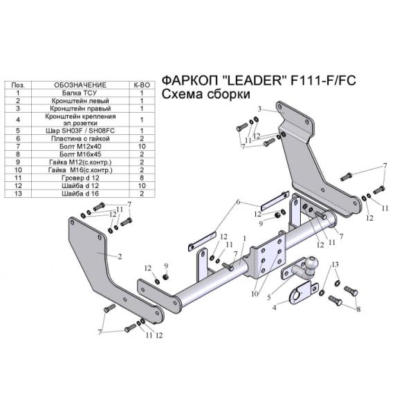 Фаркоп Лидер-плюс F111-FC для Ford Tourneo Connect фургон (2002-2014)