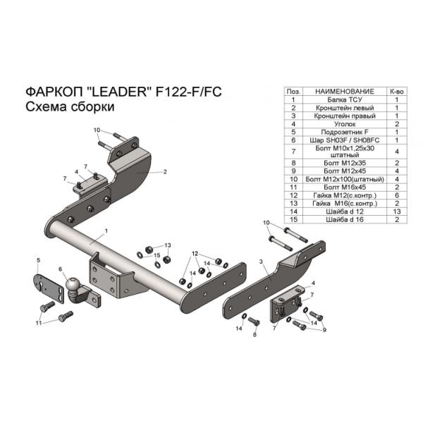 Фаркоп Лидер-плюс F122-F для Ford Transit фургон (2014-)