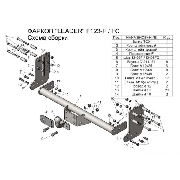 Фаркоп Лидер-плюс F123-FC для Ford Transit (2014-)