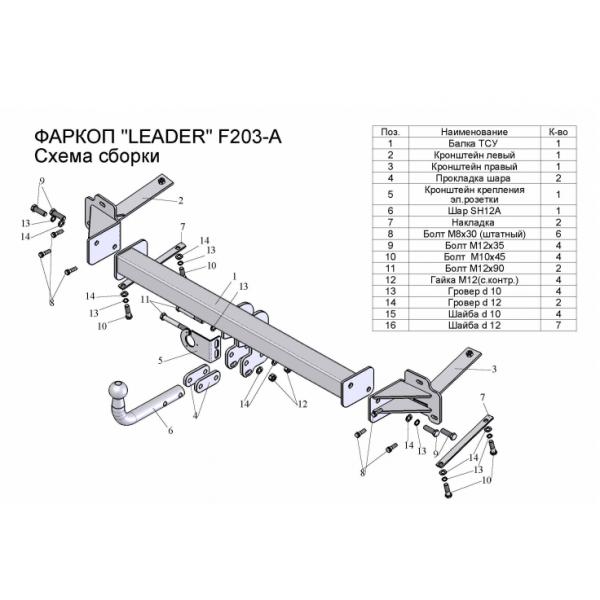 Фаркоп Лидер-плюс F203-A на FIAT Doblo фургон (2001-2010)