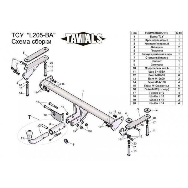 Фаркоп Tavials L205-BA для Land Rover Freelander (2006-2015)