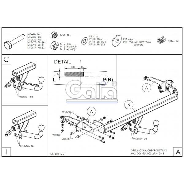 Фаркоп Galia O063A на Chevrolet Tracker (2015-)