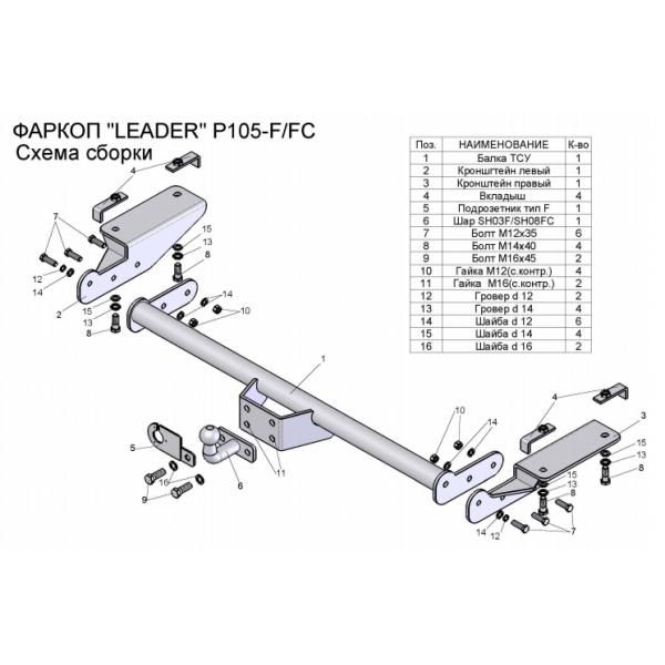 Фаркоп Лидер-Плюс P105-F на Citroen Jumper  (2006-)
