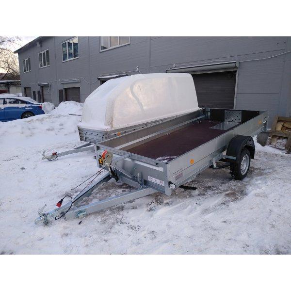 Прицеп для снегохода ТРЕЙЛЕР 3.5 (самосвал, домкрат, лебедка, оп. колесо в комплекте)