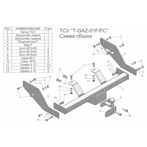 Фаркоп Лидер-Плюс T-GAZ-01FC на GAZ Gazelle (1994-2008)
