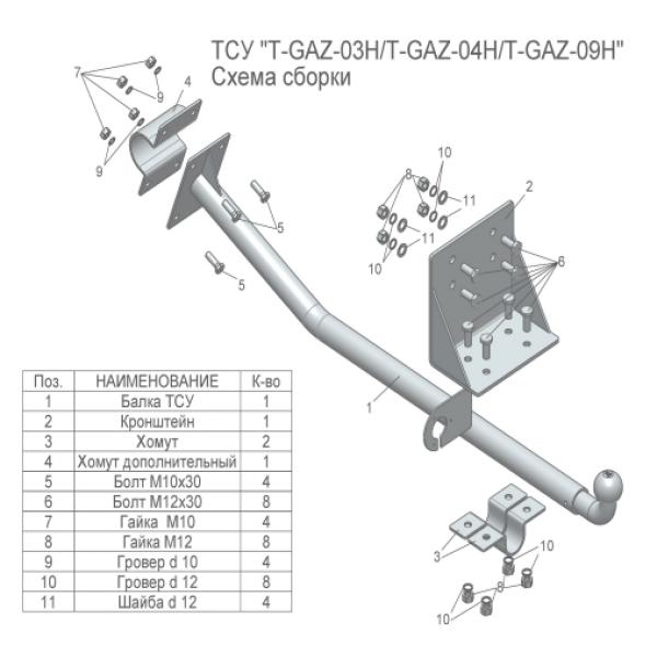 Фаркоп Лидер-Плюс T-GAZ-03H на GAZ Gazelle (1994-)