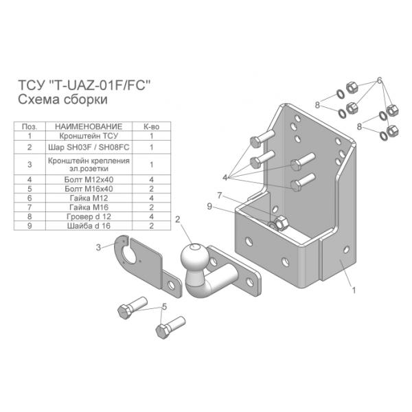 Фаркоп Лидер-Плюс T-UAZ-01FC на UAZ 469 (1985-)