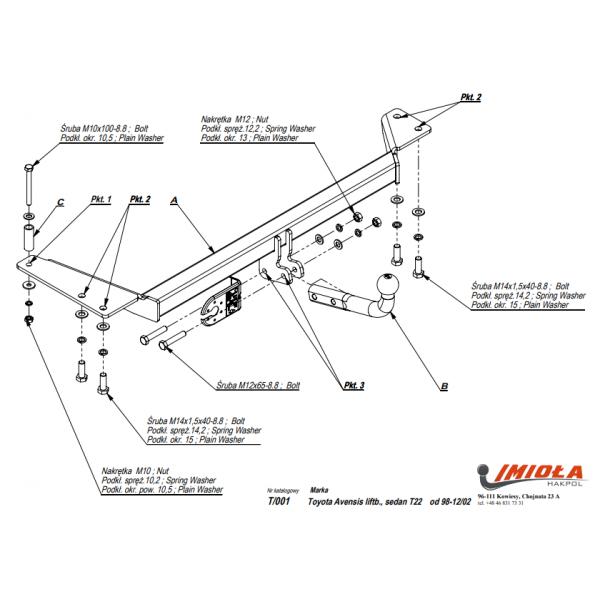 Фаркоп Imiola T.001 для Toyota Avensis седан T22 (1998-2002)