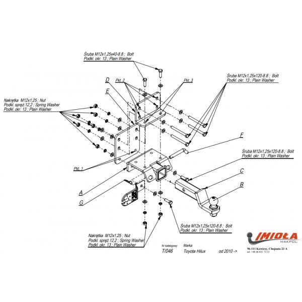 Фаркоп Imiola T.046 для Toyota Hilux (2005-2015)