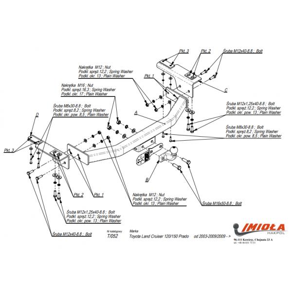 Фаркоп Imiola T.052 для Toyota Cruiser LC Prado 120 (2002-2009)