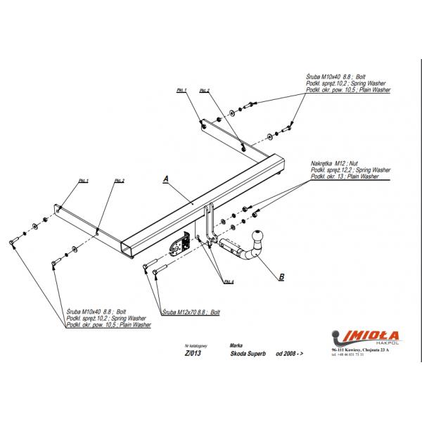 Фаркоп Imiola Z.013 для Skoda Superb седан/универсал (2008-2015)