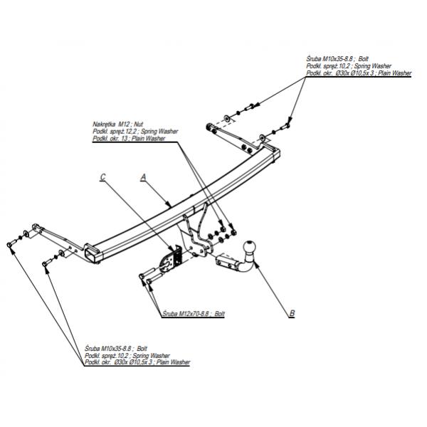 Фаркоп Imiola Z.016 для Skoda Octavia лифтбек/универсал (2013-)