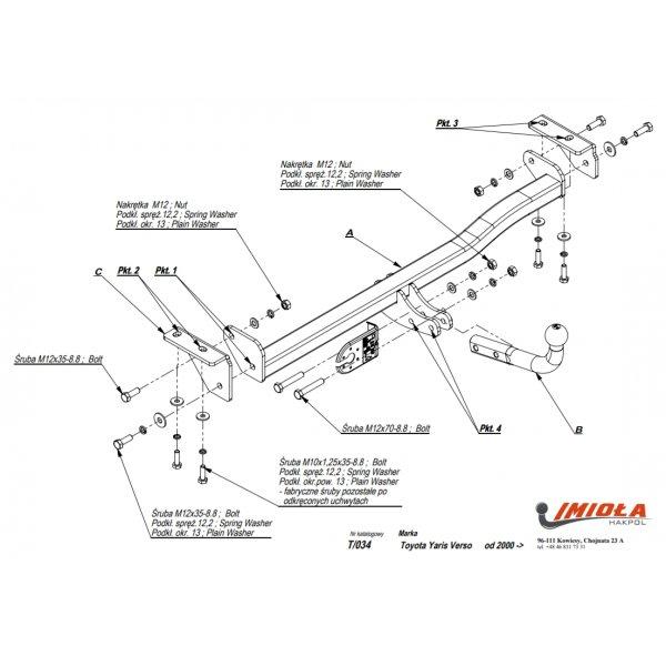Фаркоп Imiola T.034 для Toyota Yaris Verso (2000-2014)